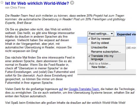 Übersetzung des Google Reader