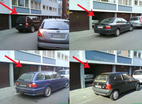 Garage zugeparkt